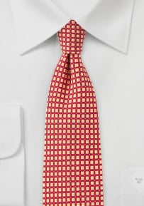 Geometric Print Slim Tie in Bright Red