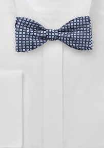 Tiny Geo Print Bow Tie in Blue