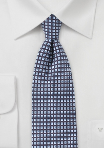 Slim Cut Foulard Print Tie in Blue