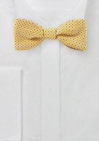 Foulard Print Summer Bow Tie in Bright Yellow