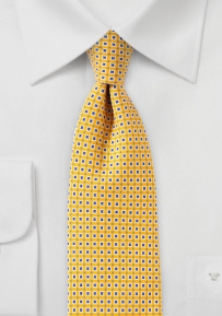 Slim Cut Foulard Tie in Bright Yellow
