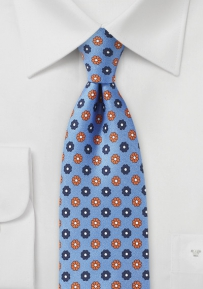 Slim Cut Floral Tie in Blue and Orange