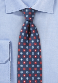 Modern Narrow Cut Floral Tie in Navy