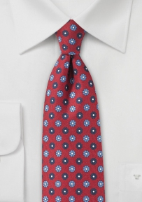 Narrow Floral Tie in Cherry Red and Blue