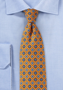 Pixel Art Graphic Print Tie in Orange