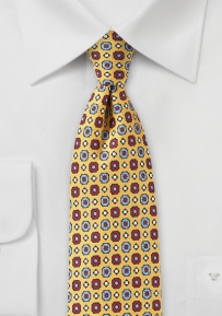Slim Graphics Print Silk Tie in Yellow