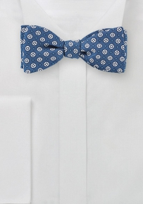 Blue Silk Bow Tie with White Geo Print Design