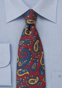 Red and Blue Designer Paisley Tie in Printed Wool