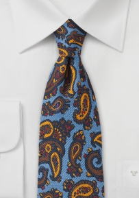 Blue, Yellow, and Brown Paisley Wool Tie