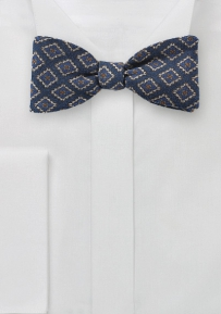 Wool Medallion Print Bow Ties in Blue