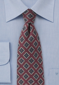 Deep Burgundy Red Wool Medallion Print Tie