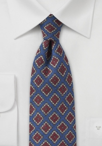 Ink Blue Wool Tie with Red Medallions