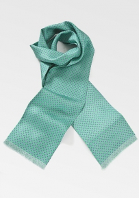 Mens Designer Silk Scarf in Spring Greens and Lilacs
