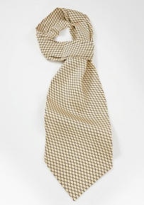Mens Vine Pattered Ascot in Yellows and Blues