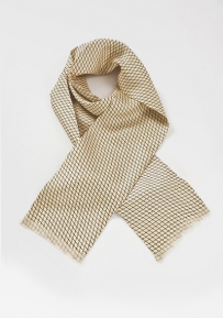 Net Motif Silk Scarf in Yellows and Blues