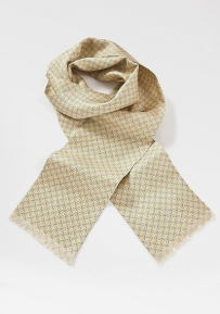 Punchy Patterned Tie in Muted Yellows and Blues