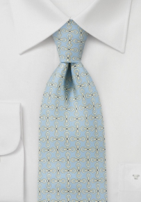 Keychain Patterned Tie  in Faded Baby Blue