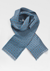 Mens Patterned Silk Scarf in Teals
