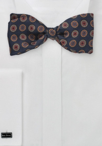 Dark Navy Bowtie with Colorful Circles