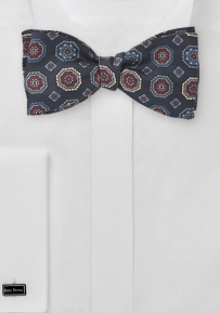 Large Emblem  Bow Tie in Navy Blues