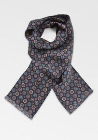 Emblem Patterned Scarf in Navy and Burgundy