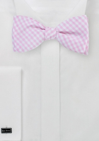 Summer Gingham Bow Tie in Pink and White