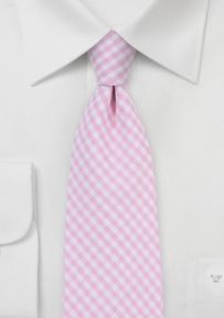 Cotton Gingham Tie in Tea Rose Pink