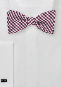 Micro Gingham Check Bow Tie in White and Burgundy