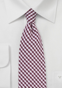 Cotton Gingham Tie in Burgundy
