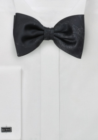Black Designer Bow Tie in Faux Leather Look