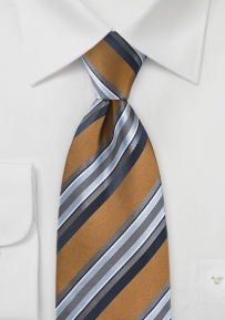 Regal Striped Tie in Bronze, Blacks and Greys