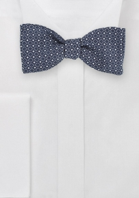 Art Deco Square Pattern Woven on Twilight Blue Bowtie