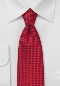 Bright Red Silk Tie with Basket Weave Texture