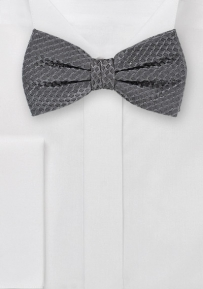 Waffle Cone Weave Style Bow Tie in Mercury Gray