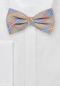 Artisan Plaid Bow Tie in Taupes and Light Blues