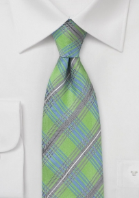 Modern Plaid Tie in Lime Green by Cantucci