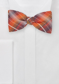 Plaid Self Tie Bow Tie in Oranges and Navys