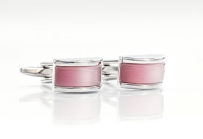 Pink and Silver Glass Cufflinks