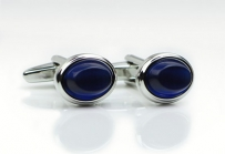 Oval Shape Cufflinks in Silver and Sapphire