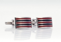Cufflinks With Burgundy-Red and Black Stripes