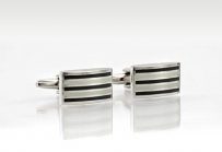 Black and White Stripe Cufflink Set