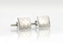 Silver Checkered-Flag Cufflinks