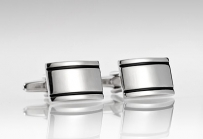 High Polished Black and Silver Cufflinks