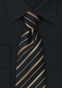 Elegant Silk Tie in Black and Bronze-Gold