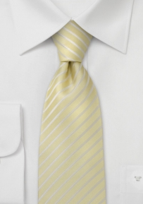 Mens Pastel Yellow Tie in Extra Long