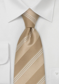 Modern Tan & White Striped Silk Tie