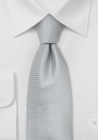 Extra Long Necktie in Light Silver