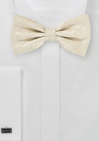 Elegant Cream and Ivory Paisley Bow Tie
