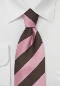Striped Silk Tie in Pink and Chocolate-Brown