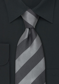 Gray and Silver Silk Necktie